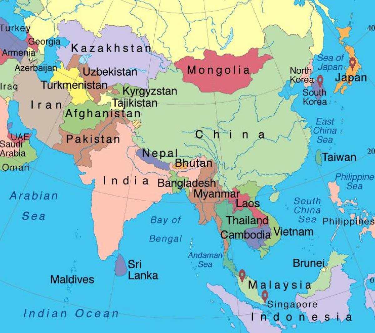 karta asien på svenska Karta över Singapore i asien   Singapore asien karta (Republic of  karta asien på svenska